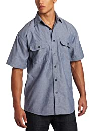 Key Apparel Mens Big-Tall Short Sleeve Button Down Wrinkle Resist Blue Chambray Shirt