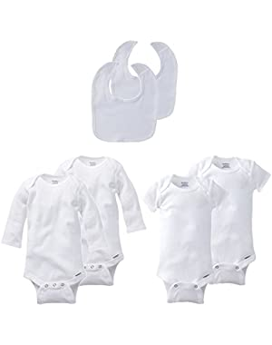 Gerber Unisex White Baby 6 Pack Onesies and Bibs, Sizes 3-24 months