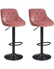 Duhome Set van 2 barkrukken kunstleer barstoel met rugleuning kleurkeuze in hoogte verstelbaar draaibaar barkruk - type 523B, kleur: roze, materiaal: fluweel