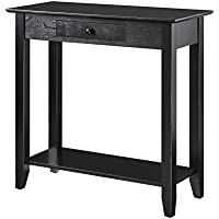 Convenience Concepts American Heritage Hall Table with Drawer and Shelf, Black