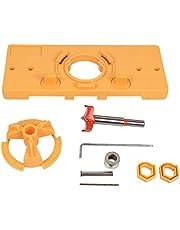 Runtodo Concealed Hinge Drilling Jig 35mm Hinge Drilling Jig Hole Guide Kit Woodworking Tools Wood Dowel Jig (Yellow)