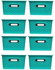 Kit com 8 caixas Organizadoras Rattan com Tampa de 6,5 litros