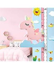 Baby meetlat hoogte diagram voor kinderziemmer decoratie, 3D beweegbare vliegende eenhoorn hoogtemeter kleuterschool dier muursticker roze