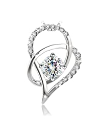"J.Rosée Jewelry S925 Sterling Silver Pendant Necklace ""Heart of Ice"" Exquisite Gift Package (45cm+5)"
