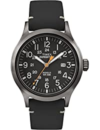 Timex Men's TW4B01900GP Expedition Black Dial Black Leather Strap