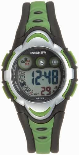 Pasnew LED Waterproof Sports Digital Watch for Children Girls Boys (Green)pse-276g