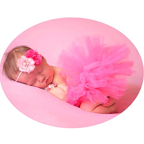 Newborn Girl Photography Outfits - Infant Photography Props/Baby Girl Photo Props - Cute Newborn Tutu Skirt and Headband Set Red