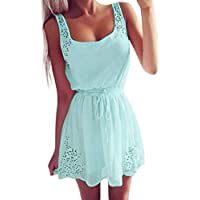 AmyDong Ladies Dress Sexy Summer Women Casual Dresses Sleeveless Cocktail Short Mini Dress Belted Belt Strap Skirt