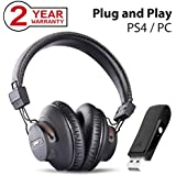 Avantree DG59 Wireless PS4 Gaming Headphones with Bluetooth USB Audio Transmitter Set for PC Nintendo Switch Desktop Computer, Plug n Play, Chat & Music Simultaneously, No Delay, 40hrs Play Time