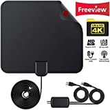 Digital HDTV Antenna Amplified 50 Miles Range Supports 1080P HD VHF UHF Freeview for Life Local Channels Broadcast, Indoor Outdoor TV Antenna Amplifier Signal Booster 10 feet Coax Cable