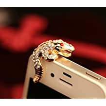 Big Mango Cute Crystal Metal Crocodile Anti Dust Plug Stopper / Ear Cap / Cell Phone Charms for Apple iPhone 5 5S,iPhone 4 4s ,iPad Mini iPad 2 ,iPod Touch 5 4,Samsung Galaxy S3 S4 Note3 Note 2,HTC and Other 3.5mm Earphone Jack Phones ( Golden )