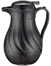 Winco Push Button Insulated Beverage Server with Swirl Design, 20-Ounce, Black