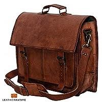 Leather Native - Bolso Vintage de 18 pulgadas - Bolso de mensajero de cuero hecho a mano - Maletín ideal para computador portátil - Oferta de verano