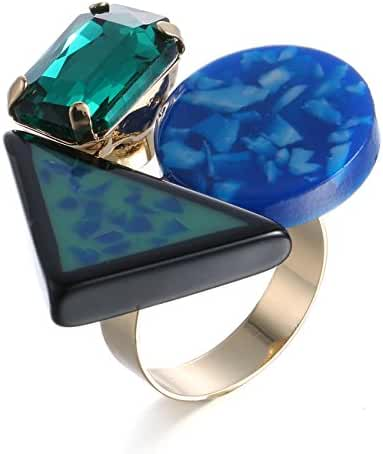 eManco Statement Cocktail Big Large Resin Stone Green Crystal Rings for Women Fashion Jewelry
