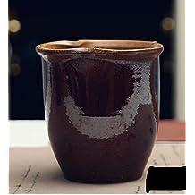 Handmade Ceramic Clay Home/ Garden Antique Exquisite Tall Shinny Black Glaze Flower Planter Pot