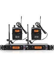XTUGA RW2080 Sistema de monitor de oído inalámbrico de metal, 2 canales, 2/4/6/8 Bodypacks de monitoreo con auriculares tipo inalámbrico utilizado para frecuencia de escenario o estudio 902-928 MHz (2 unidades con transmisor)