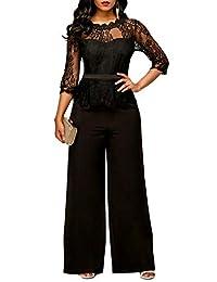 WO-STAR Elegant Lace Top High Waist Wide Leg Long Pant Jumpsuit Romper for Party