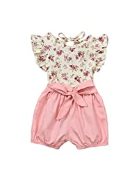 Toddler Infant Girls Summer Clothes 0-3 Years Old Sleeveless Floral Print Tops and Solid Bow Shorts Outfits Set