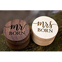 Personalized Rustic Wedding Ring Box Holder Custom Your Last Name Wedding Ring Bearer Box