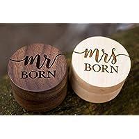 Personalized Rustic Wedding Ring Box Holder Custom Your Last Name Wedding Ring Bearer Box