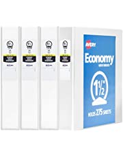 Avery Economy View 3 Ring Binder, 1.5 Inch, Round Ring, 2 Pockets, 275 Sheet Capacity, White, Pack Of 4 (19201)