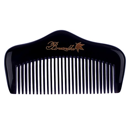 Breezelike Fine Tooth Hair and Beard Comb – No Static Natural Detangling Horn Comb – Handmade Massage Mini Pocket Comb with Premium Gift Box