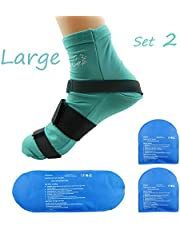 Ice Pack Wrap Cold Pack Reusable Hot Cold Therapy Pain Relieve for Injuries (Teal Socks Large)