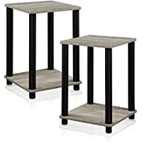 FURINNO 2-99800GYW Turn-N-Tube Stylish End Table, French Oak Grey