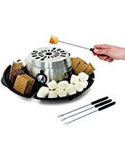 Salton Treats Indoor Electric Stainless Steel S'Mores Maker and Fondue Warmer with 4 Lazy Susan Compartment Trays with Automatic Temperature Control and 2 Settings, 4 Roasting Skewers Included (SP1717), Black, Medium