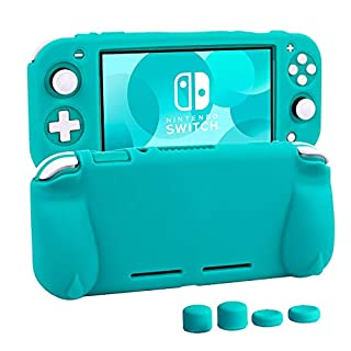Silicone Protective Case for Nintendo Switch Lite, Soft Grip Case Cover with Comfort Ergonomic Handles for Nintendo Switch Lite 2019 [Self Stand][4 Thumb Stick Caps] (Turquoise)