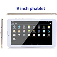 Newest Goldengulf Unlocked 9 Inch 3G Smart Phone Call Phablet Dual Sim Dual Standby Dual Camera Android 4.4 KitKat Tablet PC Google Play Store WIFI Bluetooth-Gold Edge