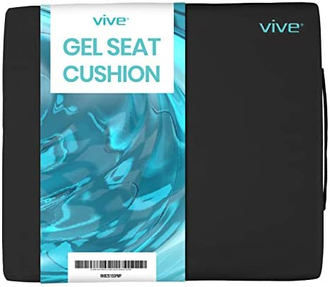 Vive Wheelchair Cushion - Gel Seat Pad for Coccyx, Orthopedic Back Support, Sciatica & Tailbone Pain Relief - Waterproof Cover + 4 Layer Foam Support and Comfort - for Pressure Sores and Ulcers