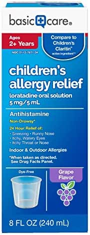 Amazon Basic Care Children's Allergy Relief Loratadine Oral Solution 5 mg/5 mL, 8 Fluid Ounces