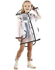 Allopo Kids Transparent Button Raincoat, Boys Girls Hooded Rain Jacket, Lightweight Rain Wear