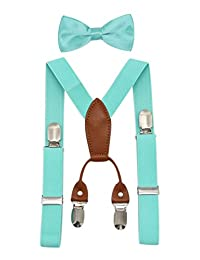 JAIFEI Toddler Kids 4 Clips Adjustable Suspenders and Matching Bow Tie Set (Teal)