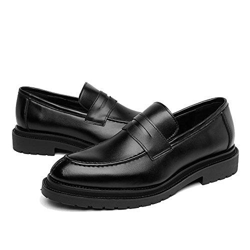 Noir 44 EU FeiNianJSh Slip-on GentleHommes Chaussures de Ville pour Hommes Chaussures de Sport en Cuir PU givré Lisse Tige de Cuir