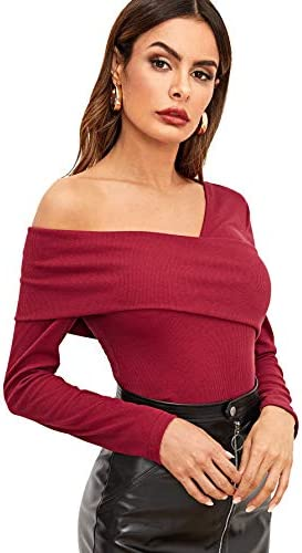 Romwe Women's Casual Cross Off Shoulder Deep V Neck Ribbed Knit Slim Wrap Tee Shirt Blouse