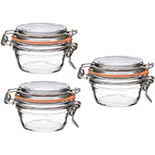 Le Parfait French Super Terrine Wide Mouth Jar - 125 Grams with 70 mm Gasket (Pack of 3)