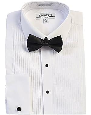 Men's Kent Lay Down Collar Long Sleeve Tuxedo Dress Shirt with Bow Tie