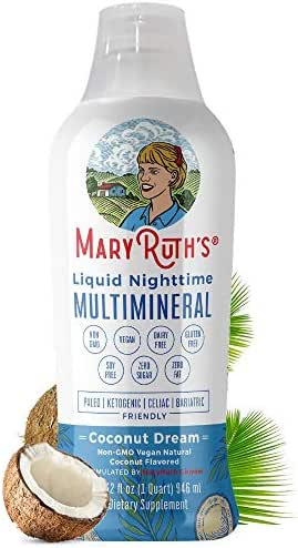 Liquid Sleep Multimineral by MaryRuth (Coconut) Vegan Vitamins, Minerals, Magnesium, Calcium & MSM - Natural Sleep & Stress Aid - Muscle Relaxation - NO Melatonin - Non-GMO Paleo 0 Sugar 0 Fat 32oz