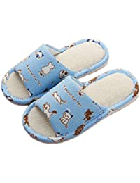 Cute Home Shoes, Kids Indoor House Slipper Skid-Proof Flax Slipper for Boys and Girls