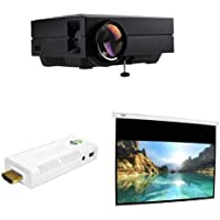 FAVI Home Theater Complete Package, 3 items - Portable Projector, WiFi SmartStick, 100 Motorized Projection Screen