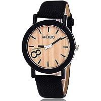Triskye Women Analog Quartz Watches Business Casual Modeling Wooden Leather Strap Band Wrist Watch Girls Ladies Alloy Dress Gift Wristwatch