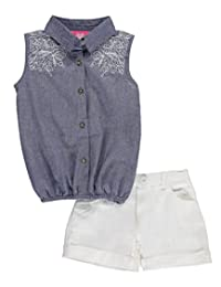 "Girls Pink Baby Girls' ""Embroidered Chambray"" 2-Piece Outfit"