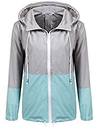 Meaneor Women's Waterproof Raincoat Outdoor Hooded Rain Jacket Windbreaker (S-XXL)
