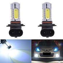 KaTur 1600 Lumens 7.5W COB 9005 HB3 H10 9145 9140 LED Aluminum Fog Lights DRL Turn Signals Light Bulbs Day Running Light 12V White 6000K (2-Pack)