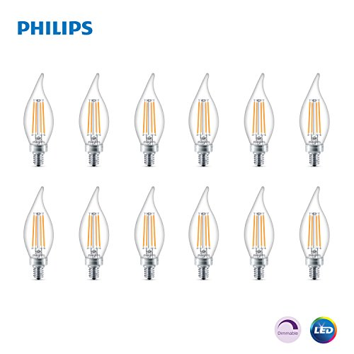 Philips LED Classic Glass Dimmable BA11 Bent Tip Light Bulb: 300-Luman Soft White E26 Base 12-Pack Clear 2700-Kelvin 40-Watt Equivalent 4.5-Watt