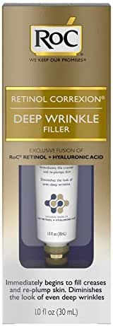 RoC Retinol Correxion Deep Wrinkle Facial Filler, Anti-Aging Treatment with Hyaluronic Acid and Retinol, Non Comedogenic, 1 Fl Oz