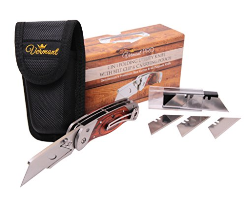 Premium Quality Hand-Made Dual Blade Utility Knife By Vermont – Folding Box Cutter With Two Blades – Wooden Handle  Stainless Steel Body – Bonus Carr…