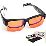 Fitover Anti-Blue Blocking Computer Glasses   Fits Over Prescription Eyeglasses   Amber Orange to Block Blue Light   Better Night Sleep & Reduce Eyestrain Migraine Headaches Insomnia (95blublock)